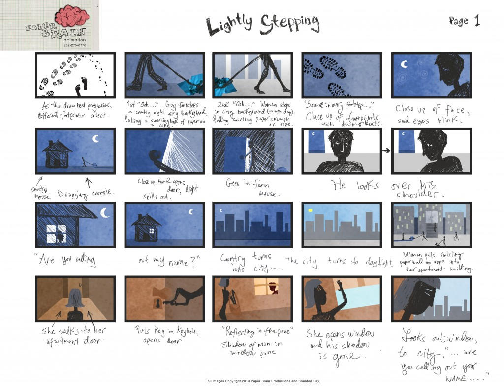 "Storyboard - ""Lightly Stepping"" Animated Music Video for Nate Henry, Page 1"